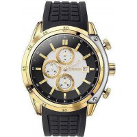 BREEZE Stylish Tech Gold Black Rubber Chronograph 110151.1 Breeze