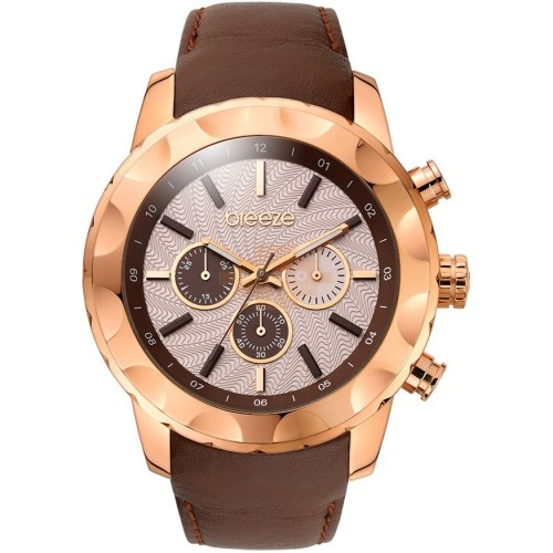 BREEZE Midtown Cocktail Rose Gold Brown Leather Chronograph 110261.3 Breeze