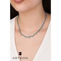 Κολιέ από ασήμι με γαλάζιες πέτρες και ζιργκόν