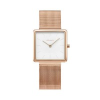 Obacu Kvadrat Rose Gold Stainless Steel Bracelet V236LXWIMV Female