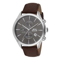 Slazenger Think Tank Dual Time Leather Strap SL.9.6064.2.03 Ρολόγια
