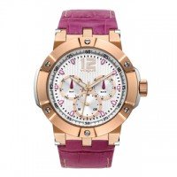 Vogue Elegance Gold Fuchsia Stainless Steel Leather Strap 16001.3 Vogue
