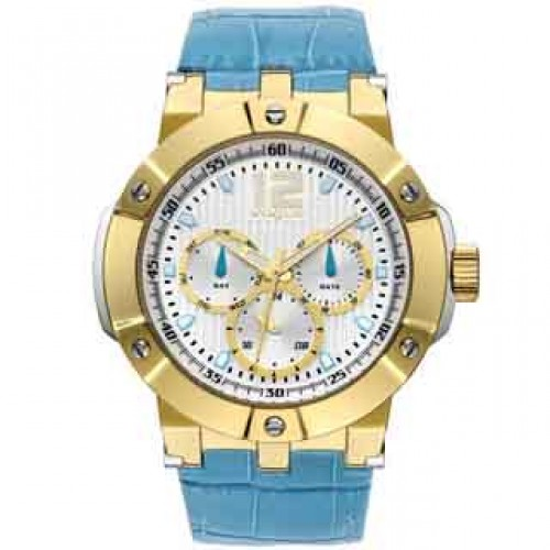 Vogue Elegance Gold Light Blue Stainless Steel Leather Strap 16001.4 Vogue