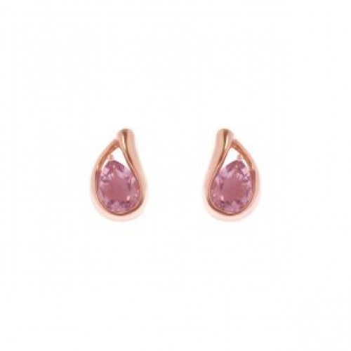 Earrings LiLALO 925 rose gold silver plated with amethyst stone SAS006517 Silver Earrings