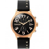 BREEZE Bellatrix Dual Time Black Leather Strap 110681.2 Breeze