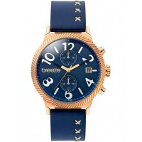 BREEZE Bellatrix Dual Time Blue Leather Strap 110681.3 Breeze