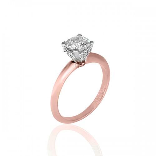Μονόπετρο Δαχτυλίδι 14Κ ροζ χρυσο με Ζιργκόν Δαχτυλίδια απο Ροζ Χρυσό