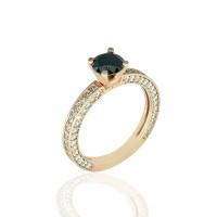 Μονόπετρο Δαχτυλίδι 14Κ Ροζ Χρυσό με Μαύρο Ζιργκόν Δαχτυλίδια απο Ροζ Χρυσό