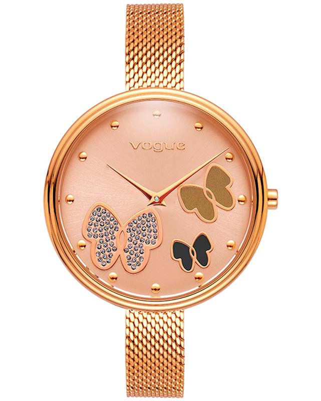 VOGUE Papillons II Crystals Rose Gold Stainless Steel Bracelet 812452  8bc0bc667d0